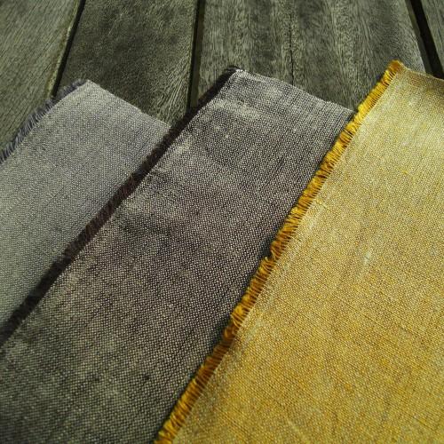 Bio-Leinenchambray roh, gelb, grau und braun