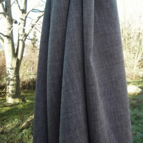 Bio-Chambray Leinen mit Wolle schwarz natur