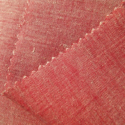 Bio-Chambray Leinen mit Wolle rot natur