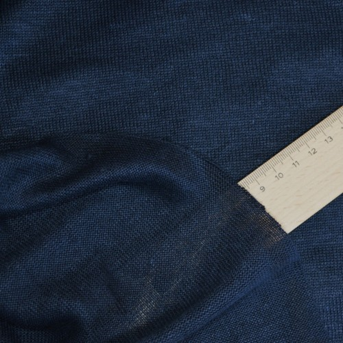 Bio-Leinenjersey dunkelblau , aus weißem Leinenzwirn