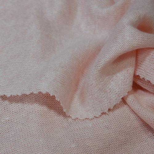 Bio-Jersey aus weißem Leinenzwirn, Rosenquarz