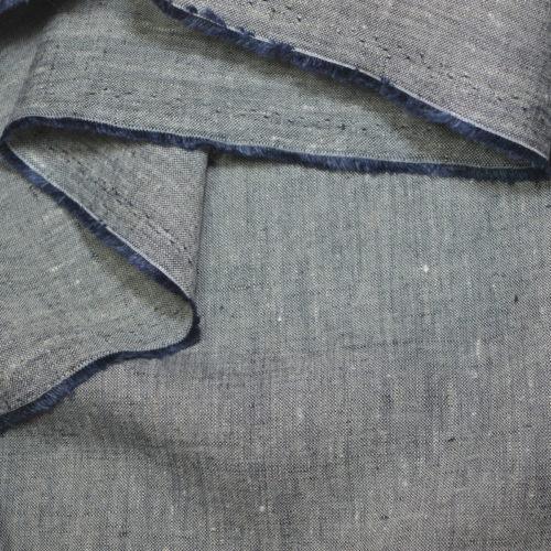 Bio-Leinenchambray schwarzblau natur